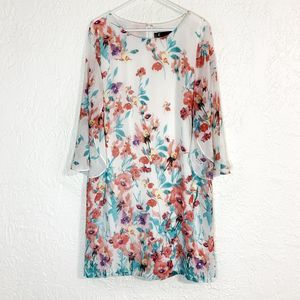 LF Leslie Fay floral watercolor dress 16